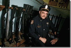 Maj. Doug Barnes of the Memphis police department sits inside the Old Allen Station Armory