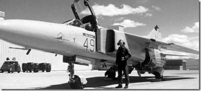 "Maj. Thomas Drake's MiG-23MS Flogger E, ""Red 49,"" (USAF serial 20). WHEN HE FINALLY LEFT THE UNIT, DRAKE REMARKED THAT THE MIG-23 HAD TRIED TO KILL HIM ON every sortie. With 294 sorties in the interceptor, he was the 4477th TESs most experienced Flogger pilot of all time. Note the ""battleship gray"" glass paint and the curious pentagon-shaped emblem on the nose. USAF photo"