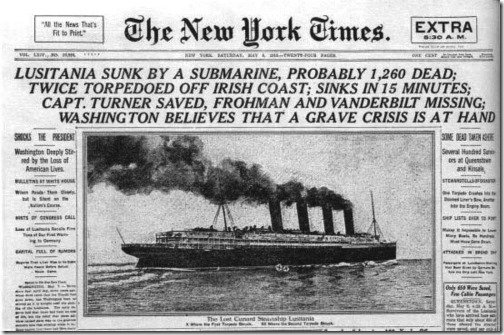 New York Times Lusitania Front Page