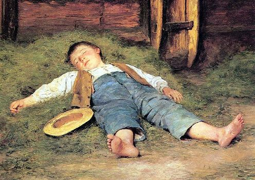 Anker Sleeping boy in hay.jpg