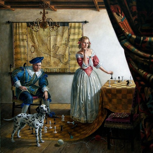 Portrait of Mr and Mrs Paul Cass in Vermeers Interior.jpg
